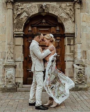 A couple enjoying their castle wedding venue, Hamlet's Elsinore Castle