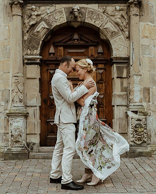 A couple enjoying their castle wedding venue, Hamlet's Elsinore Castle