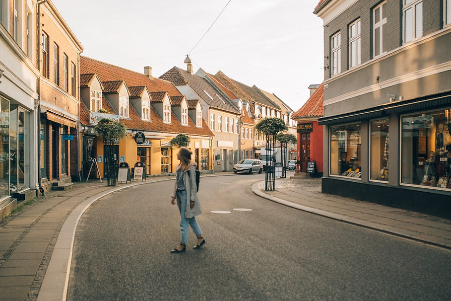 A road at Stege on Møn Island in Denmark, a charming town, ideal for an intimate elopement abroad.