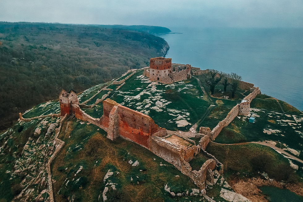 Aerial view of Hammershus Ruins on Danish Island Bornholm, which is an ideal venue for Adventure Elopement Wedding.