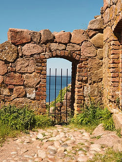 A look up close at Hammershus Ruins, a medieval fortress on Bornholm Island, one of the best wedding destinations in the world for small intimate weddings abroad