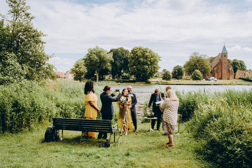 A setup for the intimate elopement wedding at Maribo lake