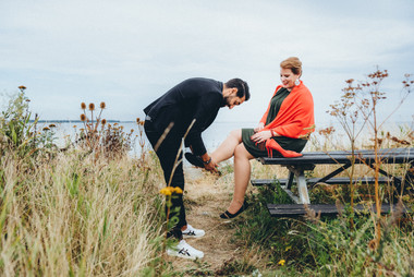 A husband reenacts a scene from Cinderella with his wife while they make their vows renewal ideas come to life in Denmark.