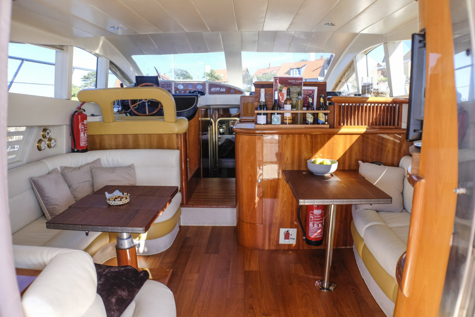 A photo of the interior of the boat where couples can get married during their elopement abroad