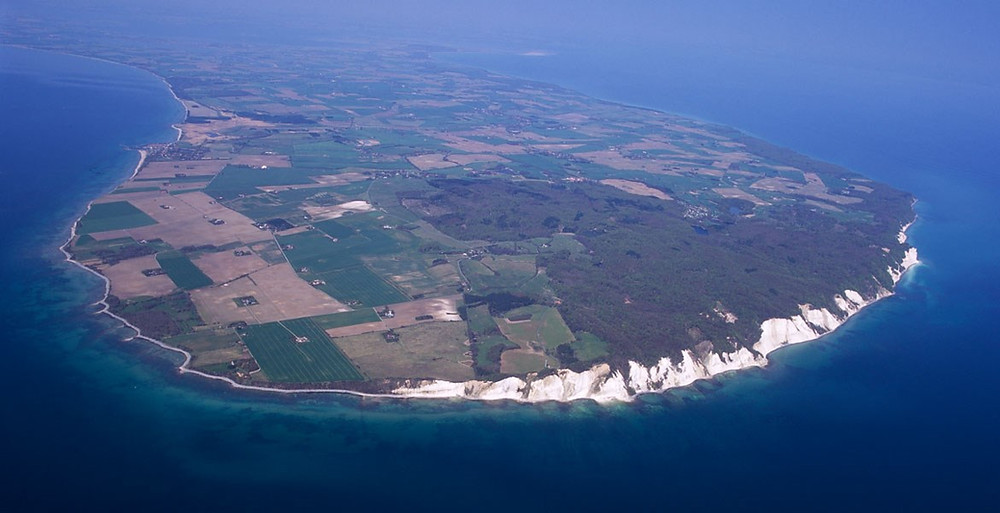 An aerial view to Moen island - the ideal venue for your wedding abroad