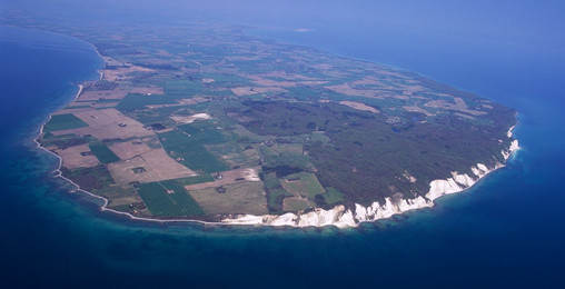 An aerial view of Møn Island and the chalk cliffs that make this island a destination wedding location.