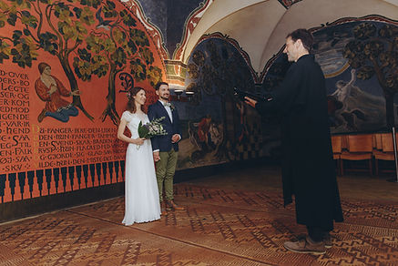 A marriage in Copenhagen city hall, a couple is holding hands and getting married in Denmark.
