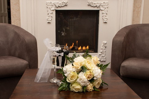 A romantic fireside place at the Bandholm Hotel on Lolland Island, a romantic wedding venue in Denmark