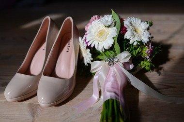 The bride's shoes, pictured as she prepares to get married in Denmark.