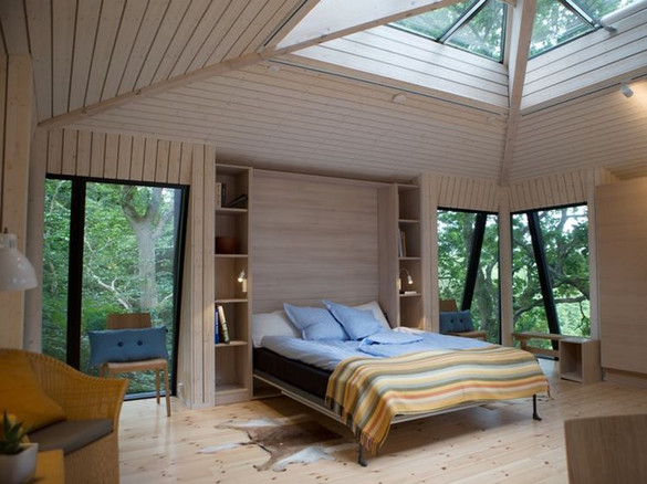 View inside the Nordic treehouse in the Lejre, perfect idea for a wedding package or to propose.