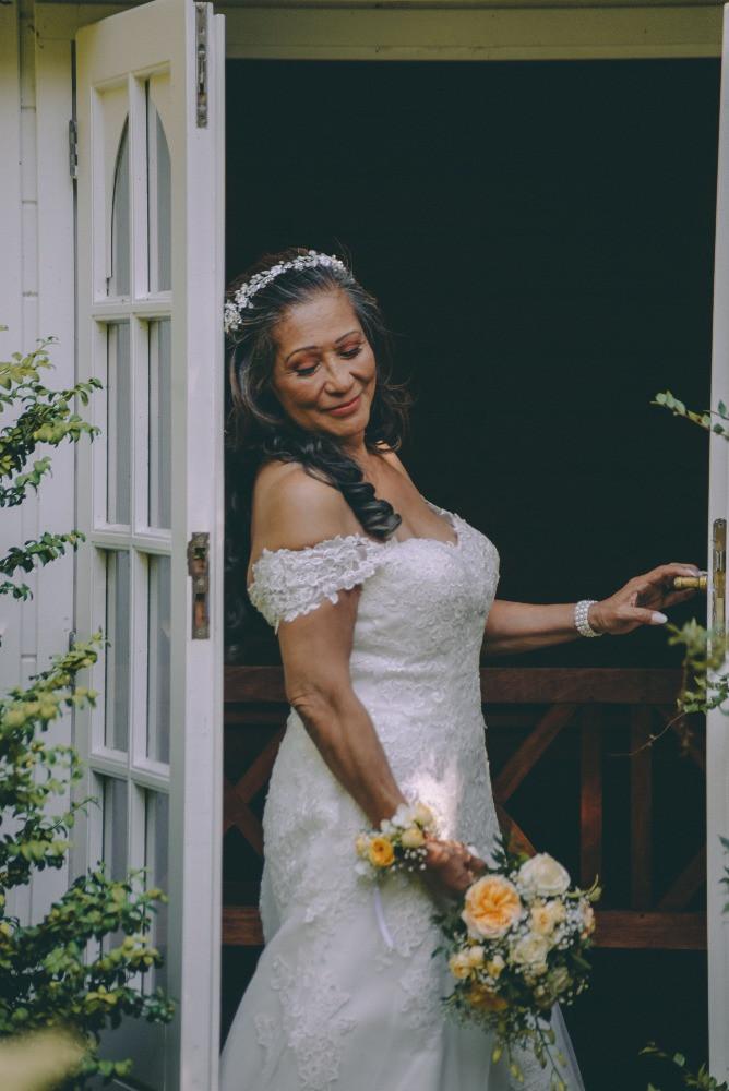 Senior bride getting ready to the wedding in Denmark