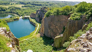 An aerial view to the Opal lake on Bornholm island.