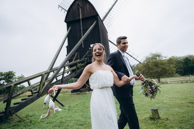 Newlyweds having a blast in Denmark, one of the best places to elope in Europe.