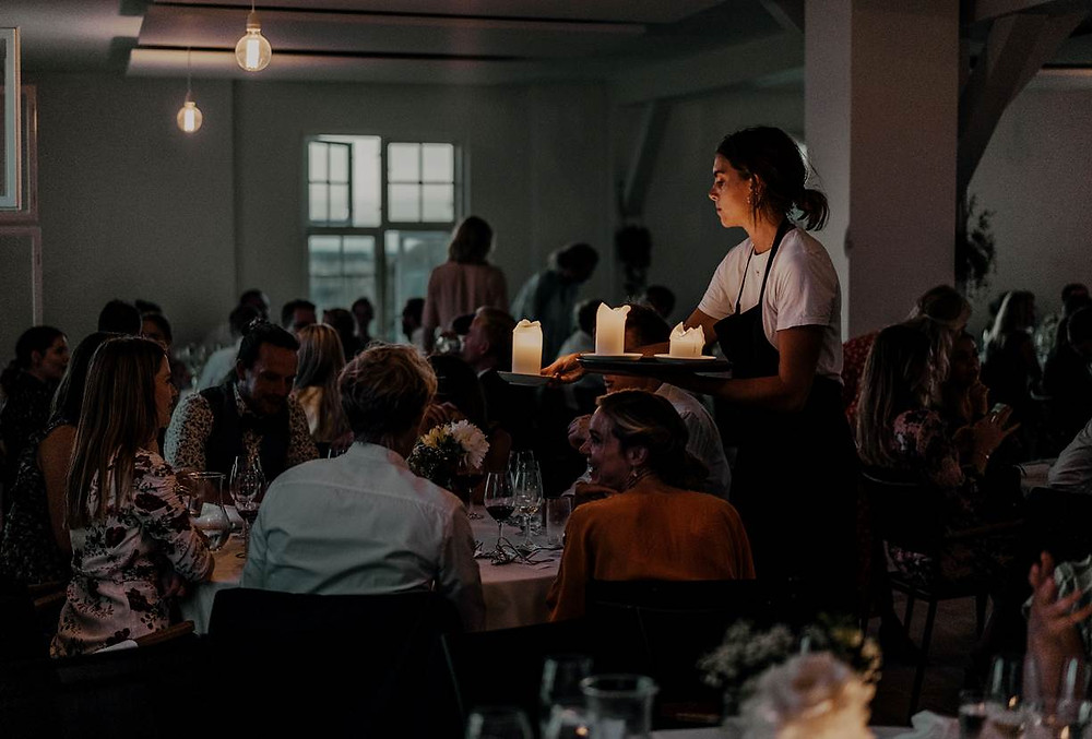 Dinning party for the couple who get married in Denmark in old fort