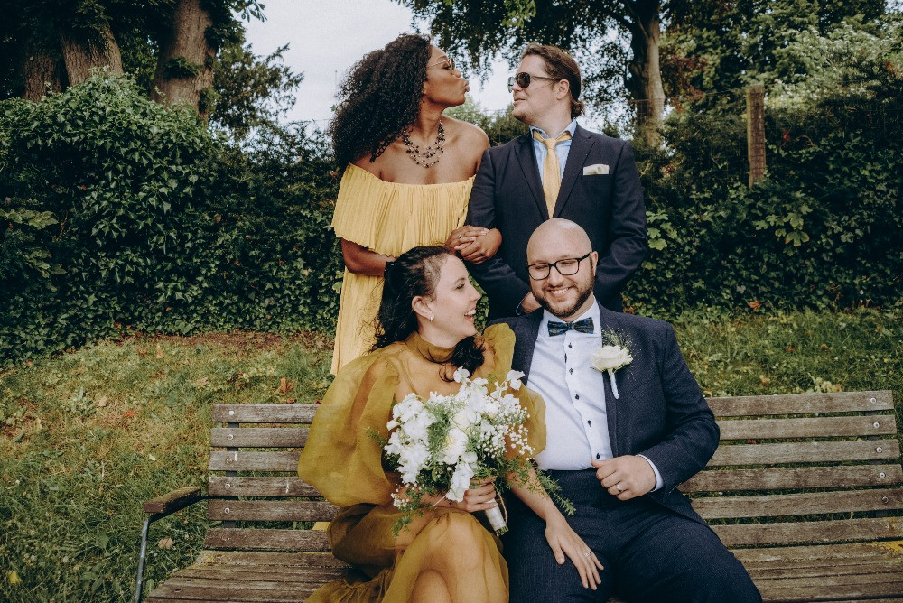 The couple getting married in Denmark and has fun with their friends