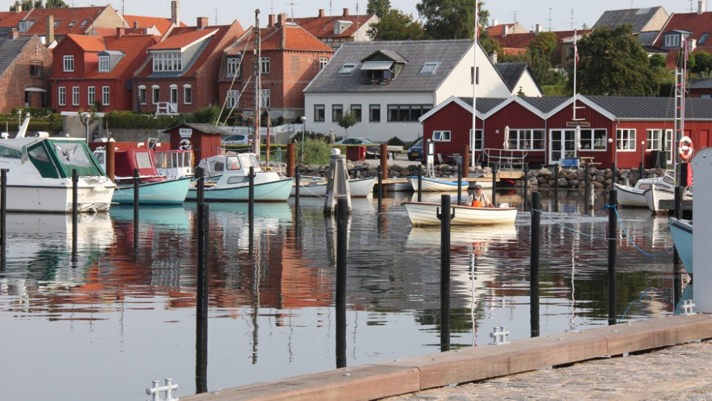 A fiew to the harbour on Danish island for weddings