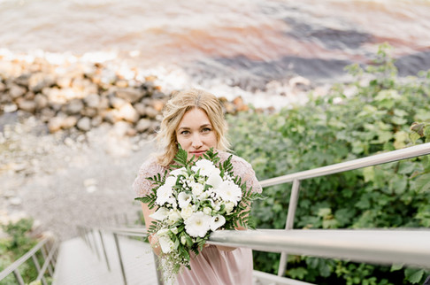 A romantic portrait of a bride during her elopement in Denmark.