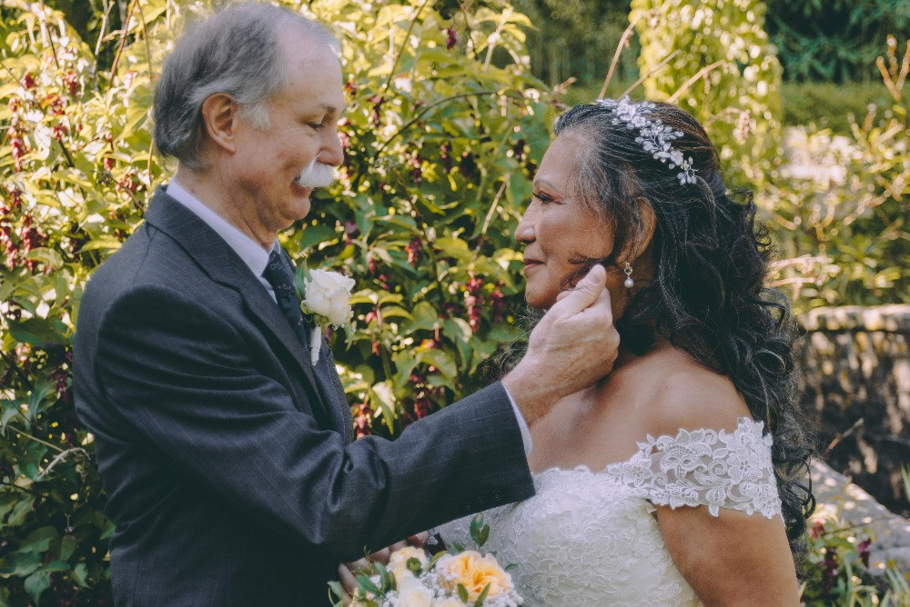 Senior bride and groom at their wedding in Denmark