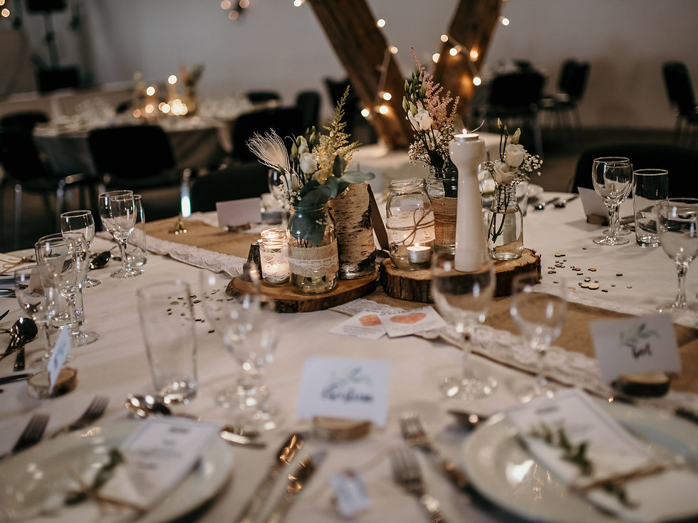 A view of a table set-up for a wedding in Denmark, made possible by Nordic Adventure Weddings, your destination wedding planner.