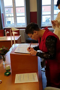 Lesbians wedding in Denmark in Maribo town hall
