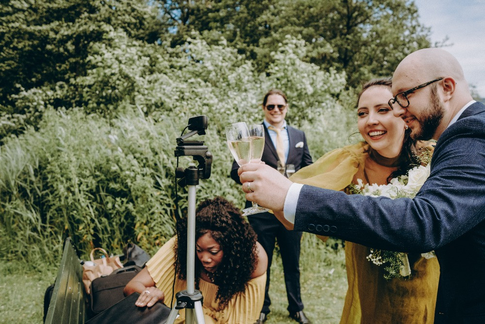 Live streaming from the intimate wedding abroad in Denmark