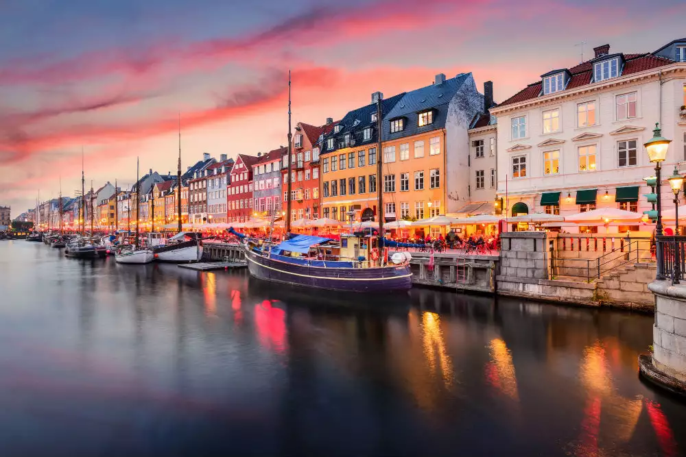 A view to the Copenhagen street in the evening