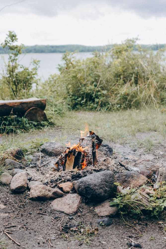 Bonfire as a setup for the forest wedding