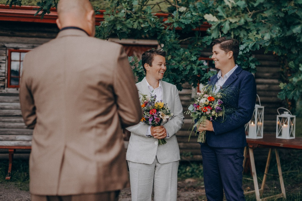 LGBT wedding ceremony in Denmark in the forest