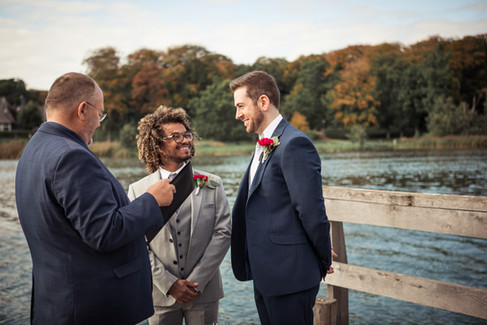 A gay marriage ceremony in Denmark by the lake, a lovely Denmark wedding venue .