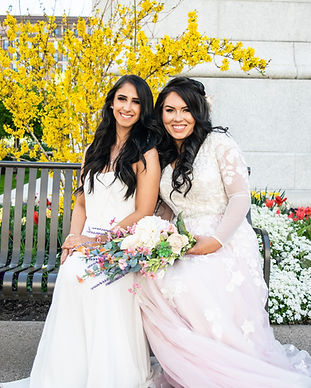 Two brides smiling during their gay marriage in Denmark, the first country to legalize gay marriage