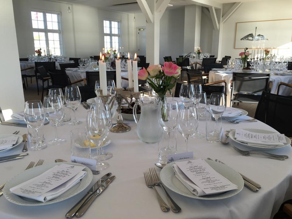 Setup in the restaurant for the destination wedding in Denmark