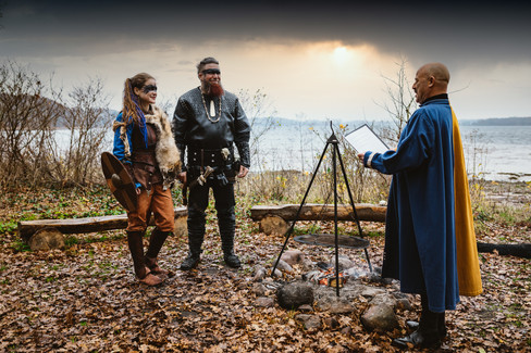A couple saying their viking wedding vows and getting married in Denmark