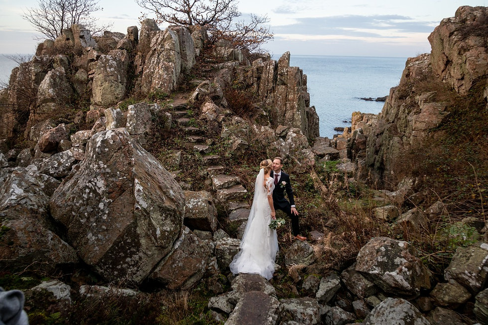 The couple on their adventure elopement packages bought in Denmark