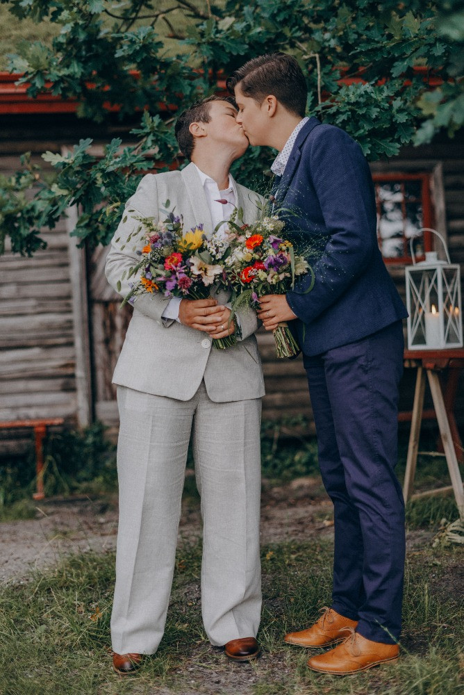 LGBT kiss at the wedding day