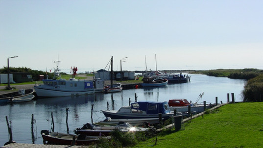 A little harbour with private boats on Lolland.