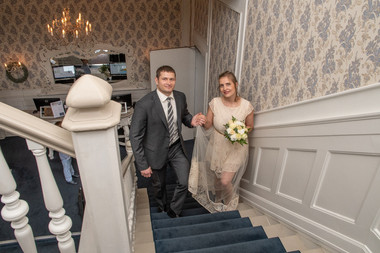 Newlyweds at the Bandholm Hotel in Denmark, a great Denmark wedding venue