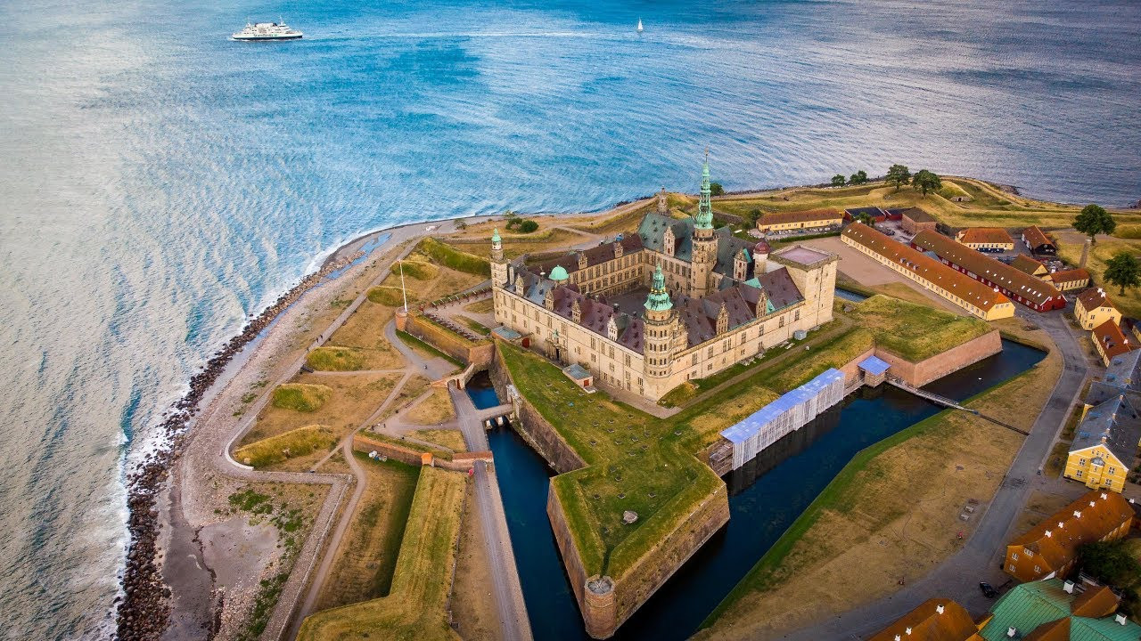 Aerial view of Kronborg Castle, also known as Hamlet's Castle or Elsinore Castle.