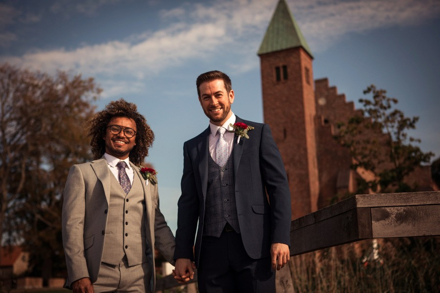 Gay couple get married in Denmark near Maribo cathedral