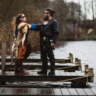 A couple having their viking-themed Nordic adventure wedding in Denmark.