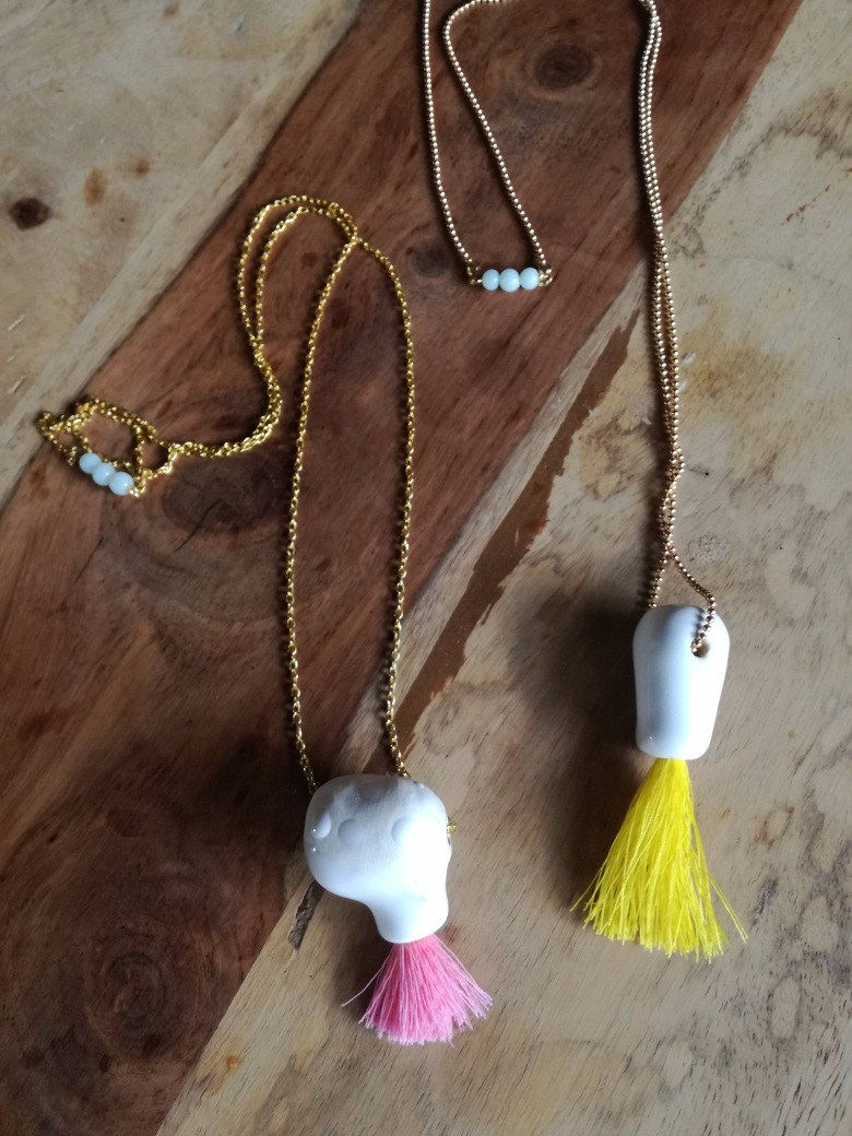 necklace pink and yellow