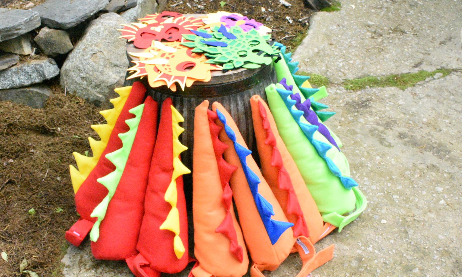 Colorful handmade dinosaur tail