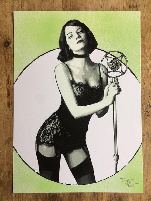 Cabaret - Cercle blanc fond vert - A4 - Original