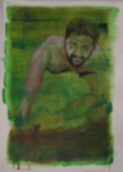 Green Daniel, Oil on Paper, 56X77 cm, 2018