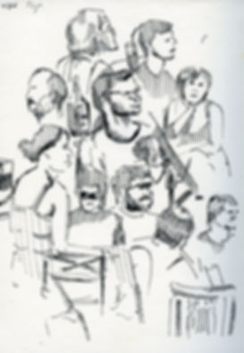 Audience, Notebook Sketch, Pen, 2016