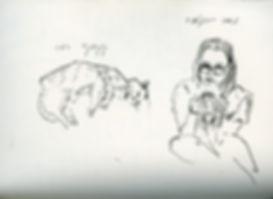 Naomi & Kokoshka, Notebook Sketch, Pen, 2016