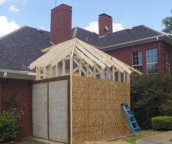 Framing in completed Forever Safe Shelter to existing home