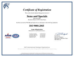 Sems and Specials ISO-9001:2015 Quality Certificate