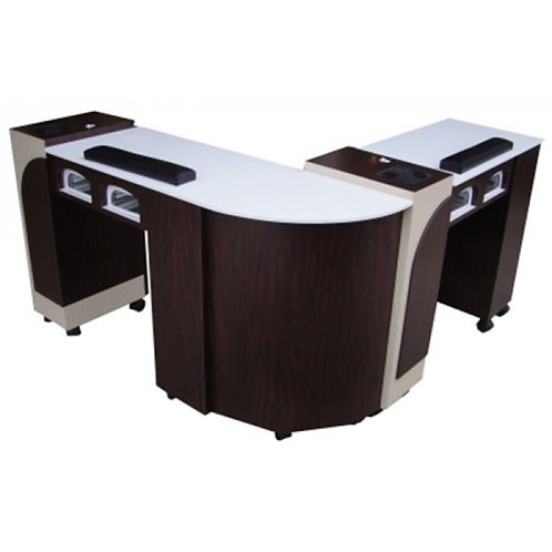 Double Manicure Table-Double Luxe 2-Model # NT-5893-3-BS