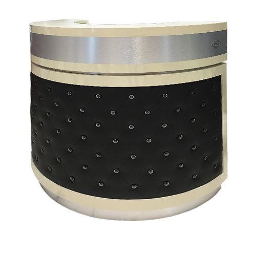 Reception Desk C-48P (Beige/ Aluminum/ Black PU)-PS