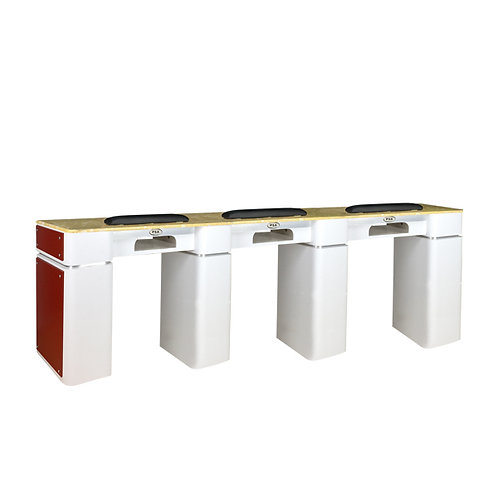 Nail Table T-39 Triple (White / Burgundy) with Gel Hole-PS